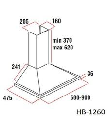 Hota incorporabila decorativa Hausberg HB-1260-INOX, Putere de absorbtie 650 m3/h, 1 motor, 60 cm, Inox