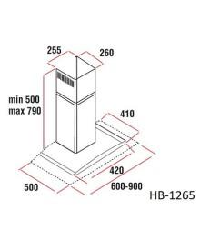 Hota incorporabila decorativa Hausberg HB-1265, Putere de absorbtie 650 m3/h, 1 motor, 60 cm, Inox/Sticla