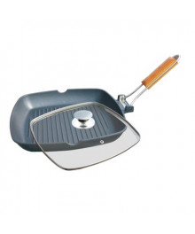 Tigaie grill aluminiu cu capac, Grunberg , 20 cm