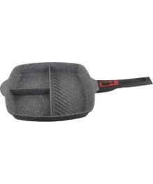 Tigaie grill 3in1 Zilan ZLN-3352, 28 cm, Material aluminiu, Strat granit, Maner ergonomic detasabil