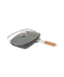 Tigaie grill aluminiu,cu capac Grunberg , 36cm
