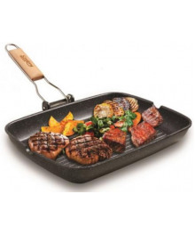 Tigaie grill cu maner detasabil, 35x25cm, aluminiu turnat