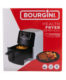 Friteuza cu aer cald Bourgini, capacitate mancare 0.8 kg, 2.2 L, cu timer si termostat reglabil, 1300 W, Negru/Alb
