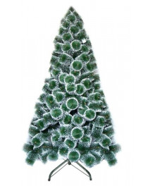 Brad Artificial 120 cm, pin bogat cu varfuri albe, suport metalic