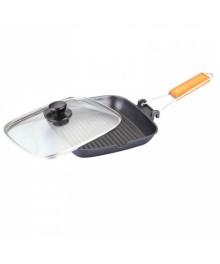 Tigaie grill Grunberg, 24 cm, Capac, Negru