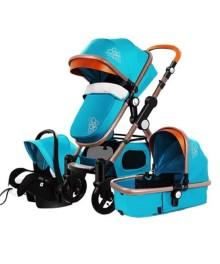 Carucior multifunctional 3 in 1,Maner reglabil si ergonomic ,Dubla suspensie si Geanta pentru accesorii , T800-Bleu ,Golden Baby