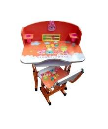 Birou cu scaunel pentru copii, inaltime reglabila  Portocaliu