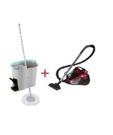 Pachet  Aspirator fara sac 2200 W, 4.5 L, Negru/Rosu + Galeata cu mop rotativ si pedala, 2 rezerve