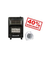 Pachet Soba gaz si electric Hausberg HB 1020, aprindere electrica, 4.2kW, Negru + Aeroterma Hausberg HB 8501, 2000 W, 2 nivele de putere, termostat reglabil, protectie supraincalzire