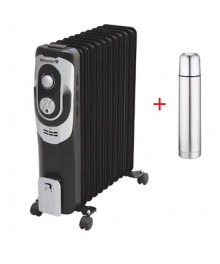 Calorifer electric Hausberg HB 8930, 2000 W, 13 elementi, 3 nivele de putere, termostat reglabil + CADOU Termos inox 1L