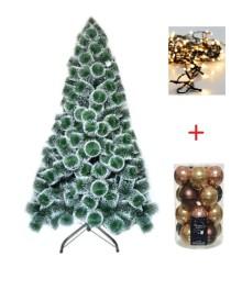 Pachet Brad Artificial 150 cm, pin bogat cu varfuri albe, suport metalic + Set 20 globuri 60mm,sticla, mix aramiu + Instalatie 120 LEDuri de 5 mm, lumina calda, 5 metri